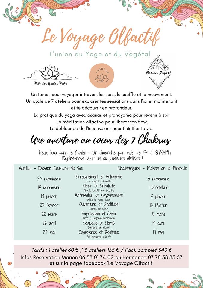 Ateliers du Voyage Olfactif, co-animé avec Marion Duport dans le Cantal, de septembre 2019 à aout 2020