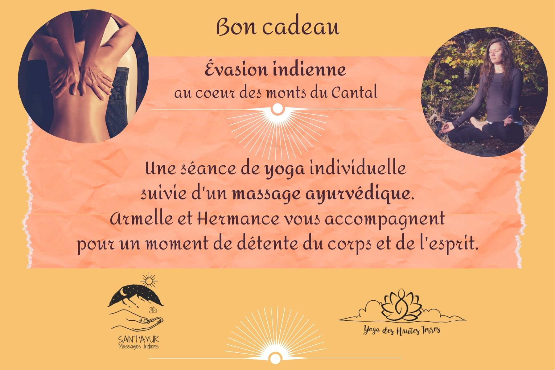 Carte Cadeau CANTAL Yoga & Massage ~ Evasion Indienne