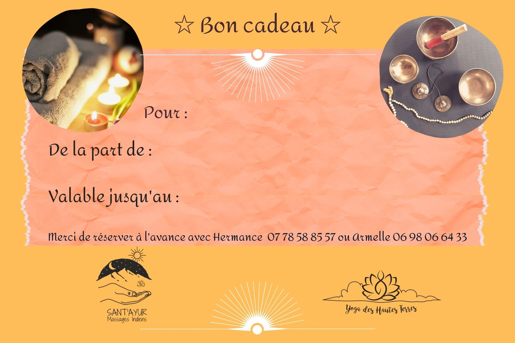 Carte Cadeau Yoga CANTAL& Massage ~ Evasion Indienne
