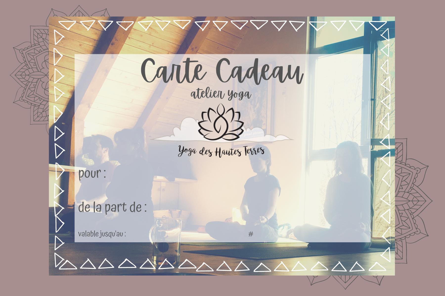 carte cadeau yoga cantal -atelier