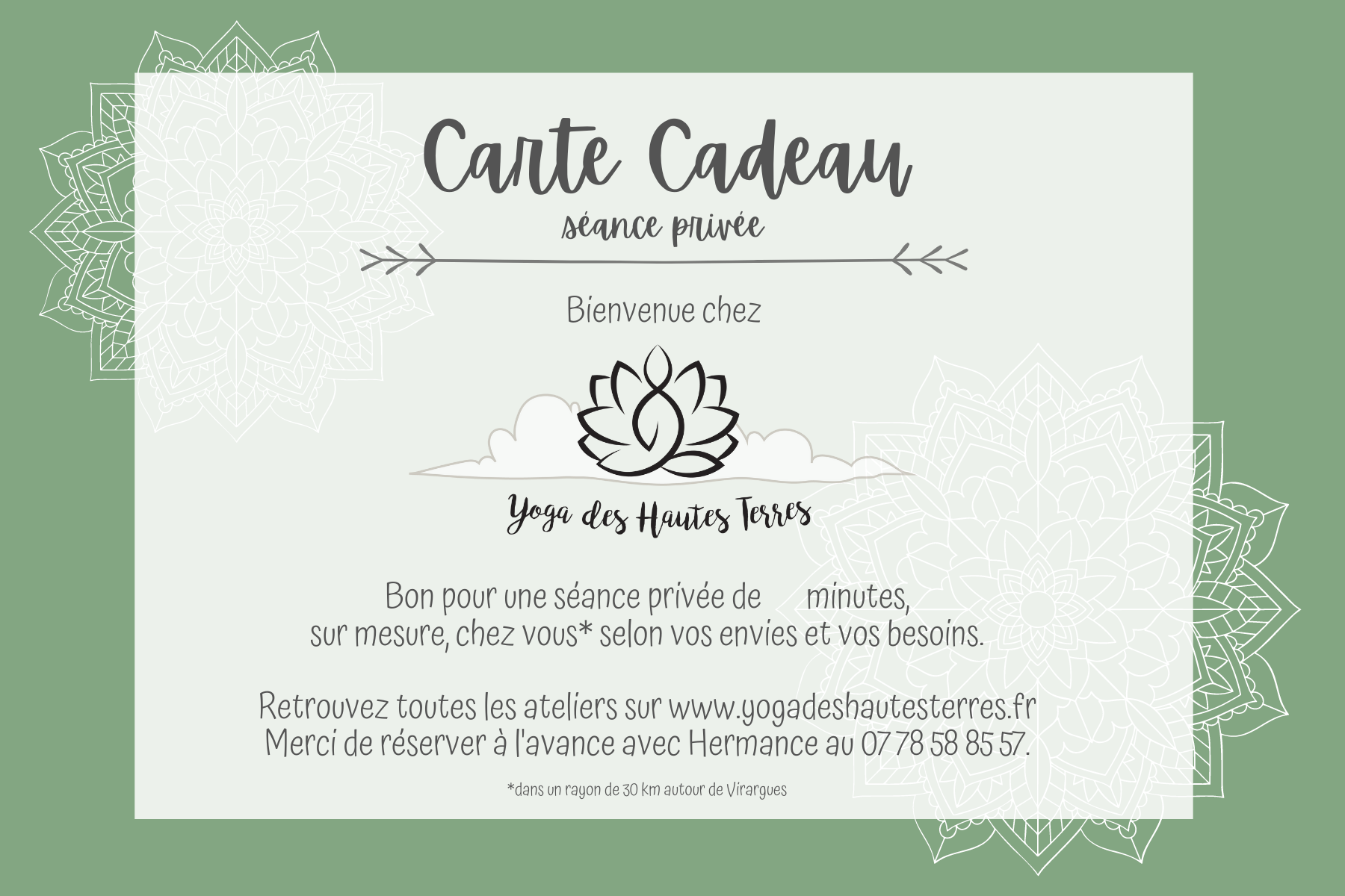 carte cadeau yoga cantal - privee